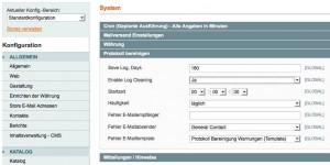 Einstellungen im Backend zur Verwaltung der Log-Dateien
